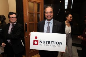 Raj Saini, Member of Parliament, read a statement congratulating Nutrition International for 25 years of impact in the House of Commons on April 11.