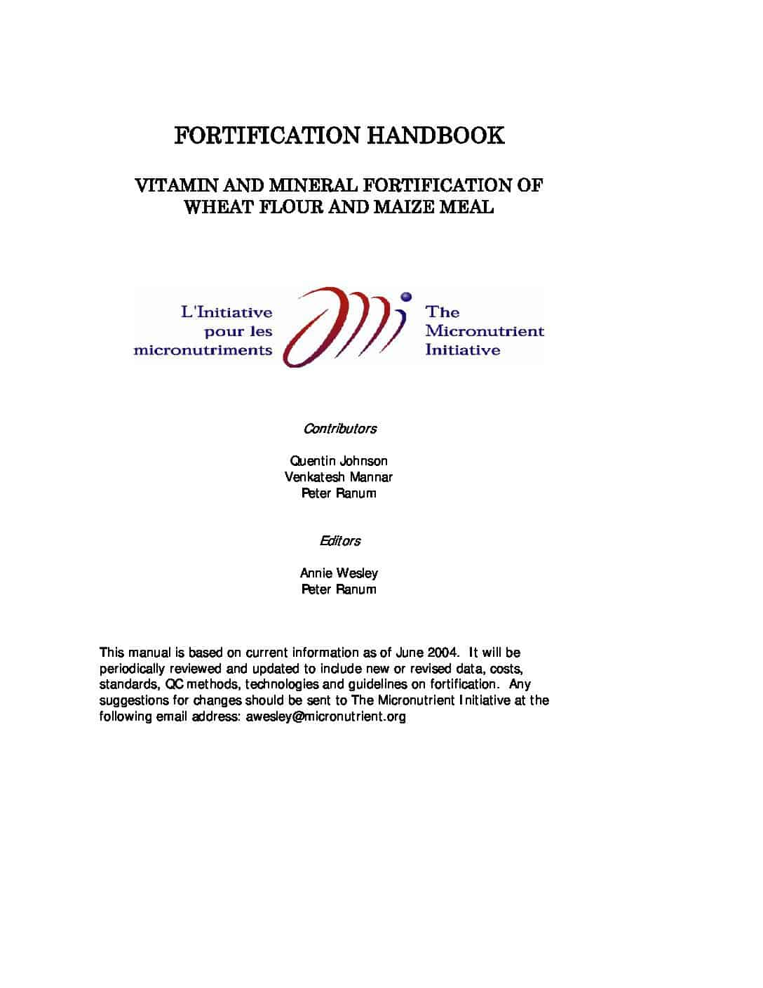 Fortification Handbook: Vitamin and Mineral Fortification of Wheat Flour and Maize Meal thumbnail