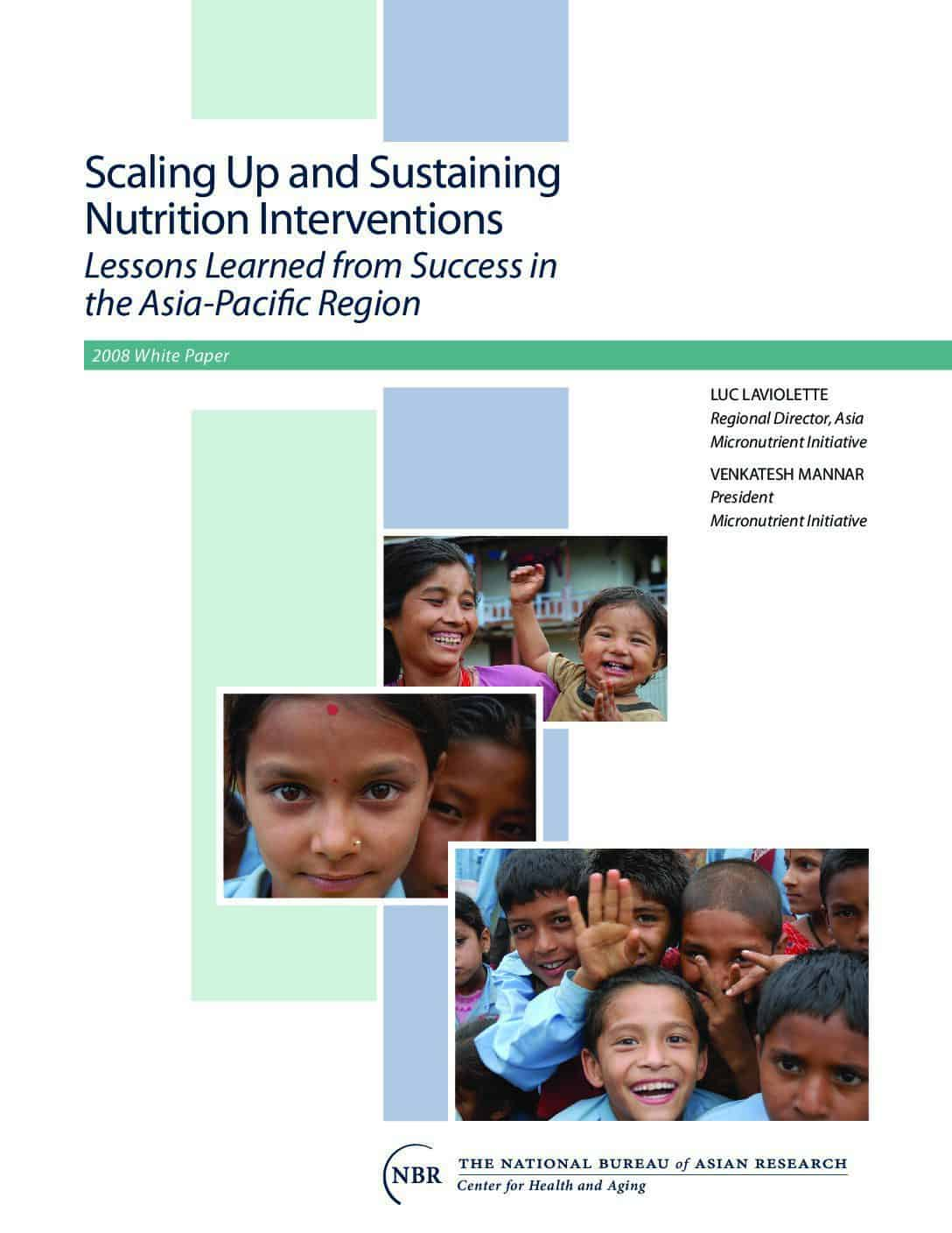 Scaling up and sustaining nutrition interventions: lessons learned from success in the Asia-Pacific region thumbnail
