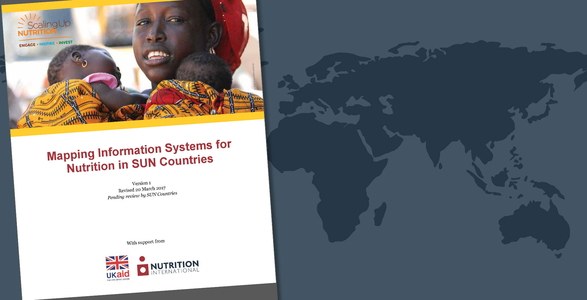 Cover image of the publication Mapping information systems for nutrition in Sun Countries with a world map in the background.