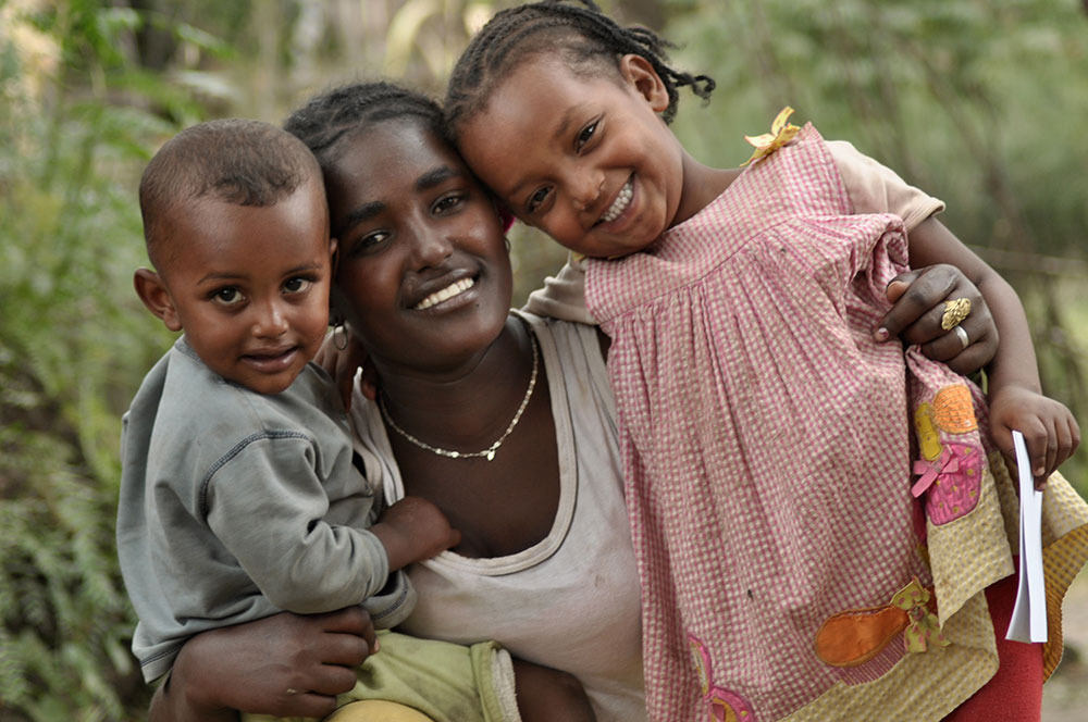 Ethiopian Mom with her two children