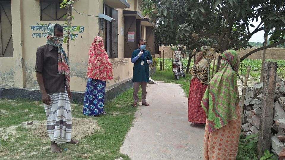 Social distancing measures in place at a community clinic in Bangladesh