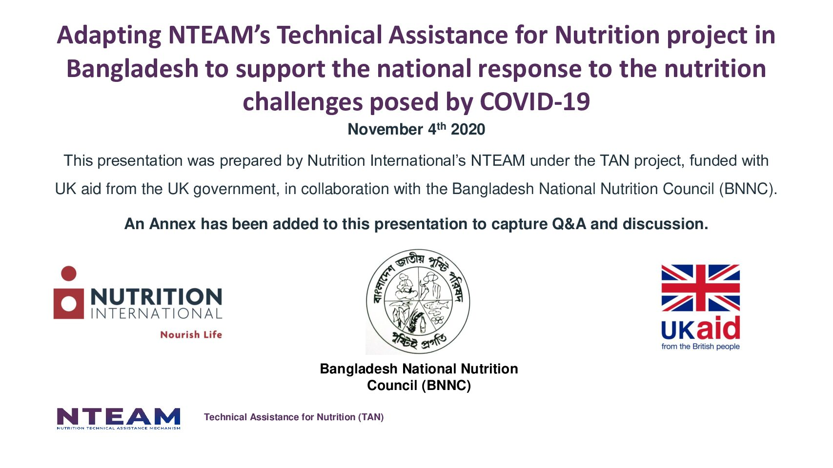 Adapting NTEAM's Technical Assistance for Nutrition project in Bangladesh to support the national response to the nutrition challenges posed by COVID-19 thumbnail