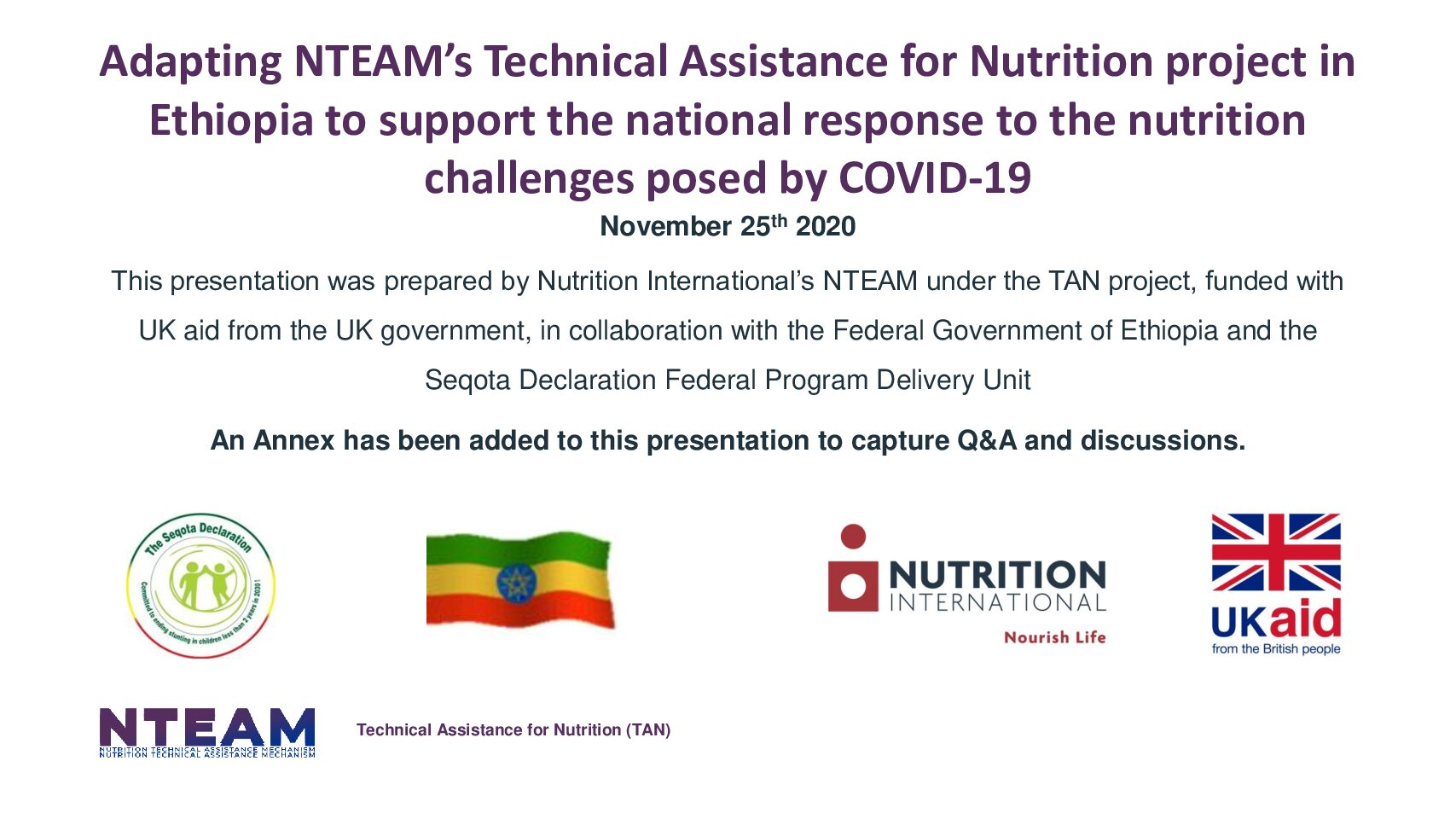 Adapting NTEAM's Technical Assistance for Nutrition project in Ethiopia to support the national response to the nutrition challenges posed by COVID-19 thumbnail