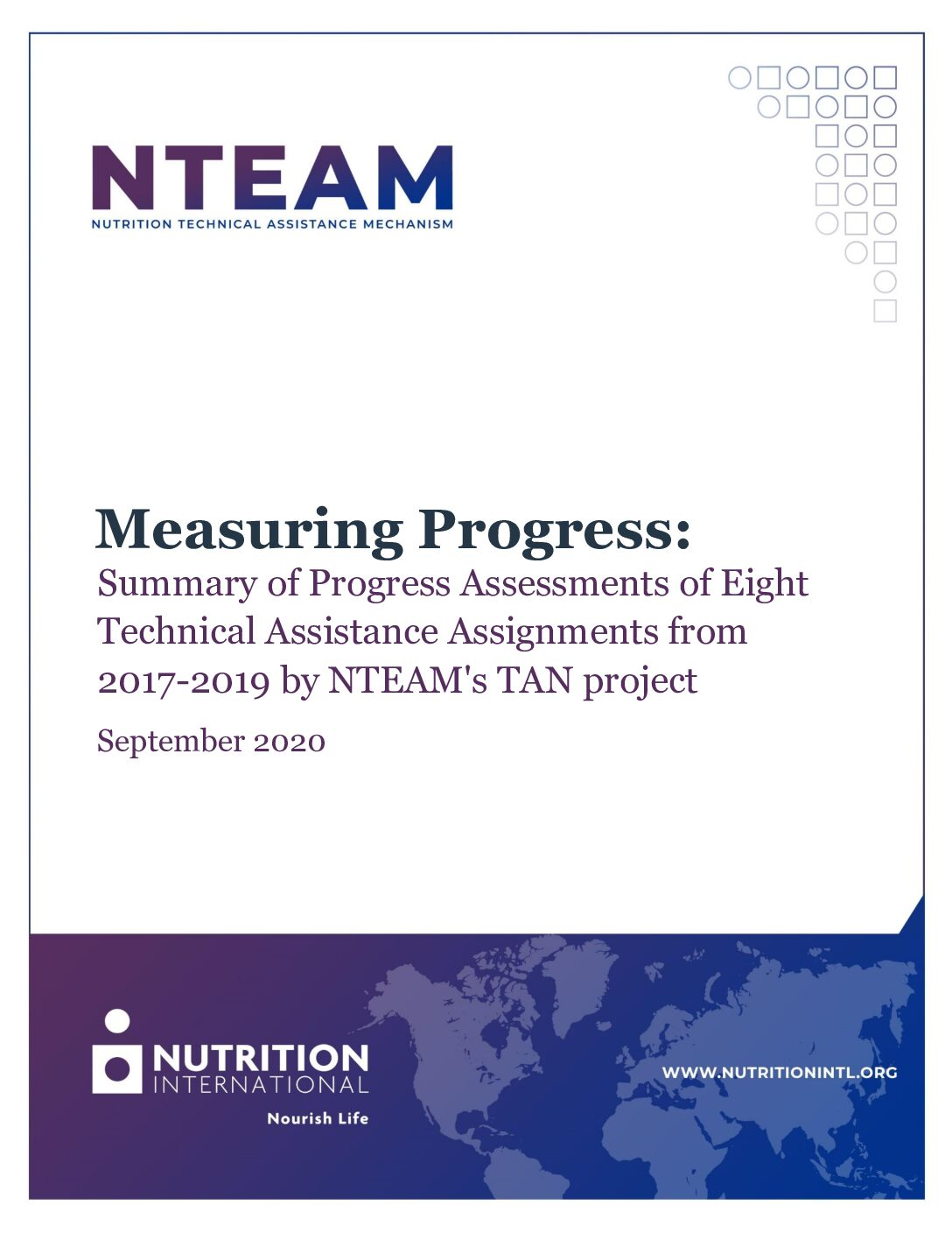 Measuring Progress: Summary of Progress Assessments of Eight Technical Assistance Assignments from 2017-2019 by NTEAM's TAN project thumbnail