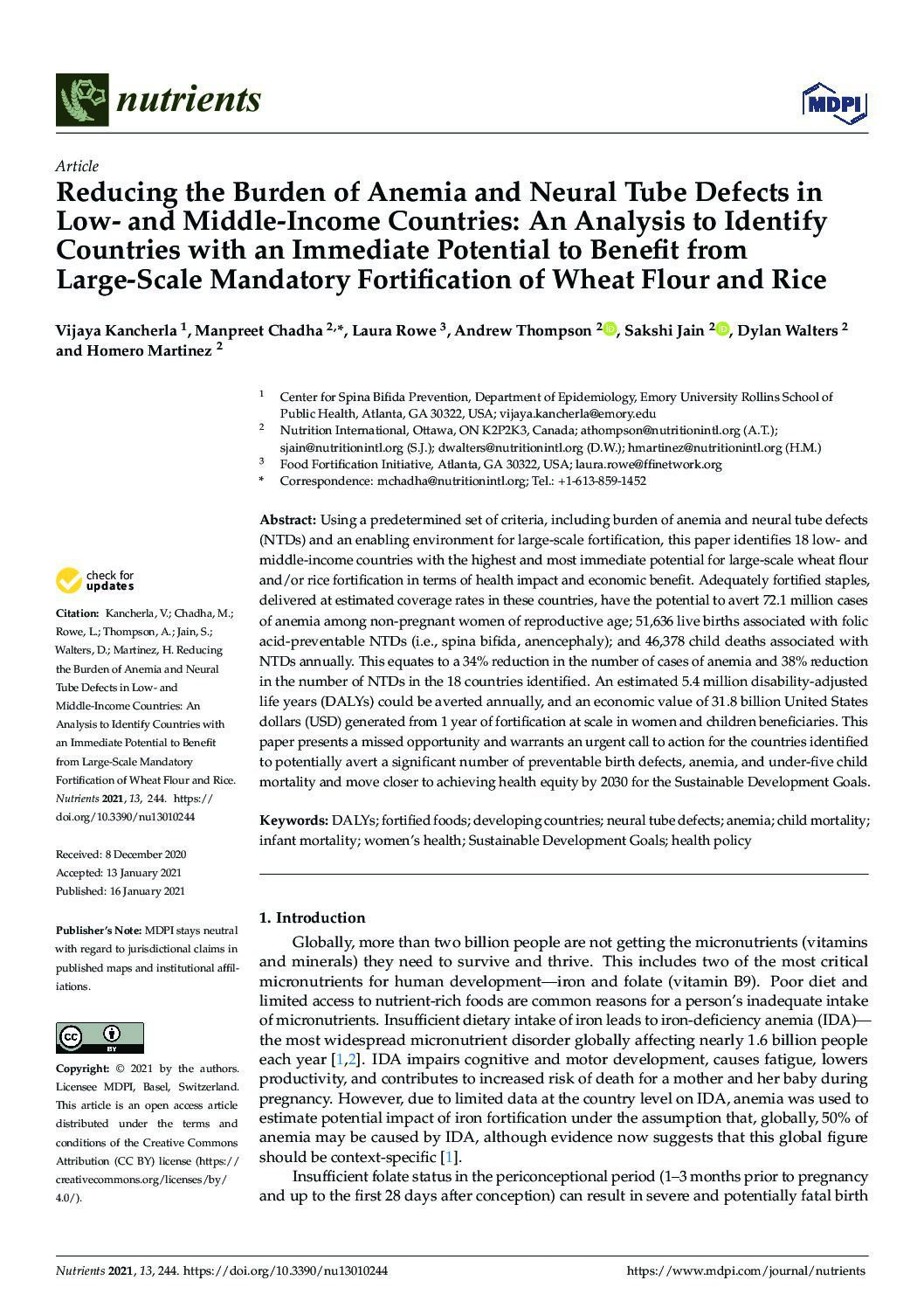 Reducing the Burden of Anemia and Neural Tube Defects in Low- and Middle-Income Countries: An Analysis to Identify Countries with an Immediate Potential to Benefit from Large-Scale Mandatory Fortification of Wheat Flour and Rice thumbnail