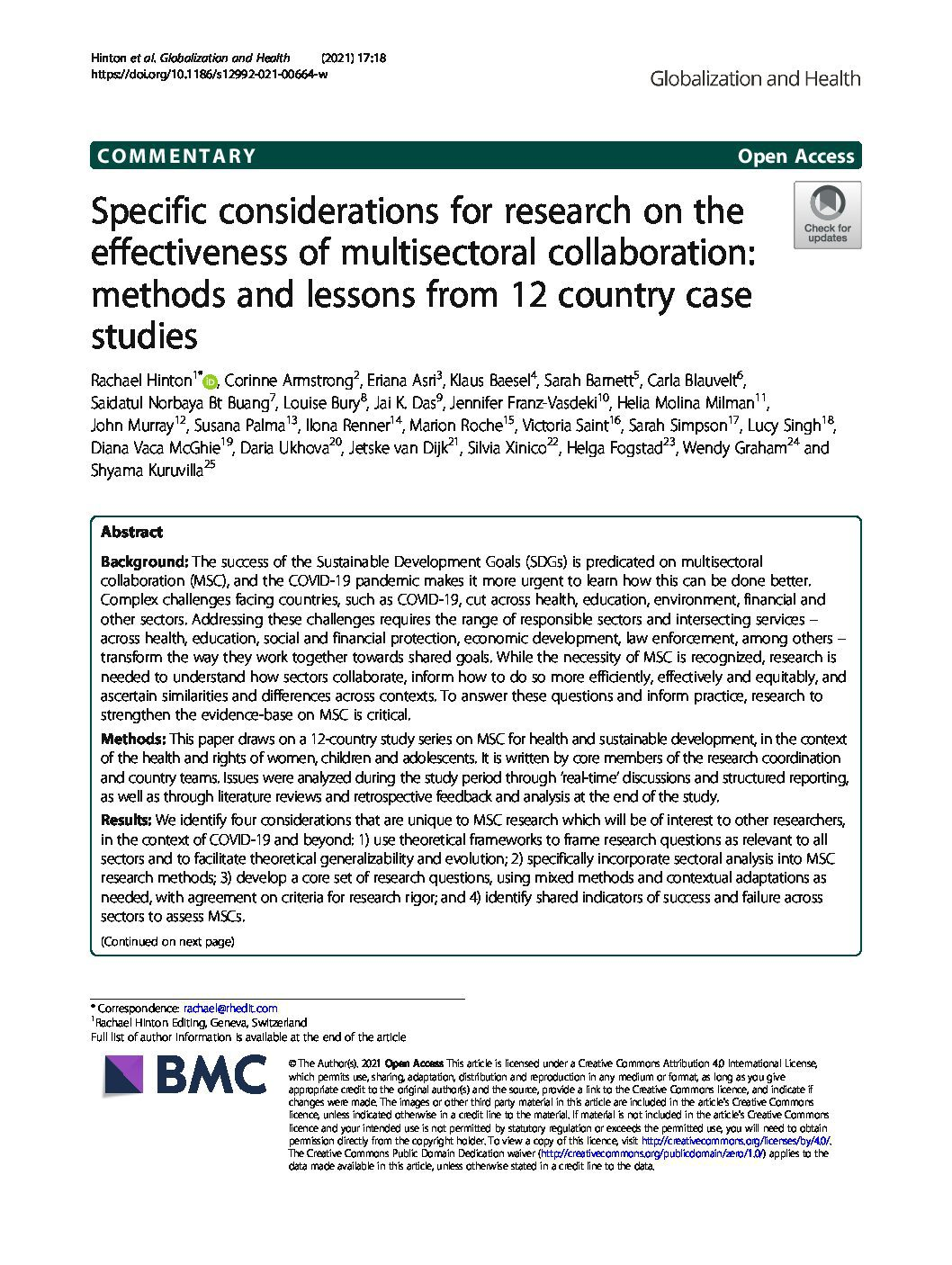 Specific considerations for research on the effectiveness of multisectoral collaboration: methods and lessons from 12 country case studies thumbnail