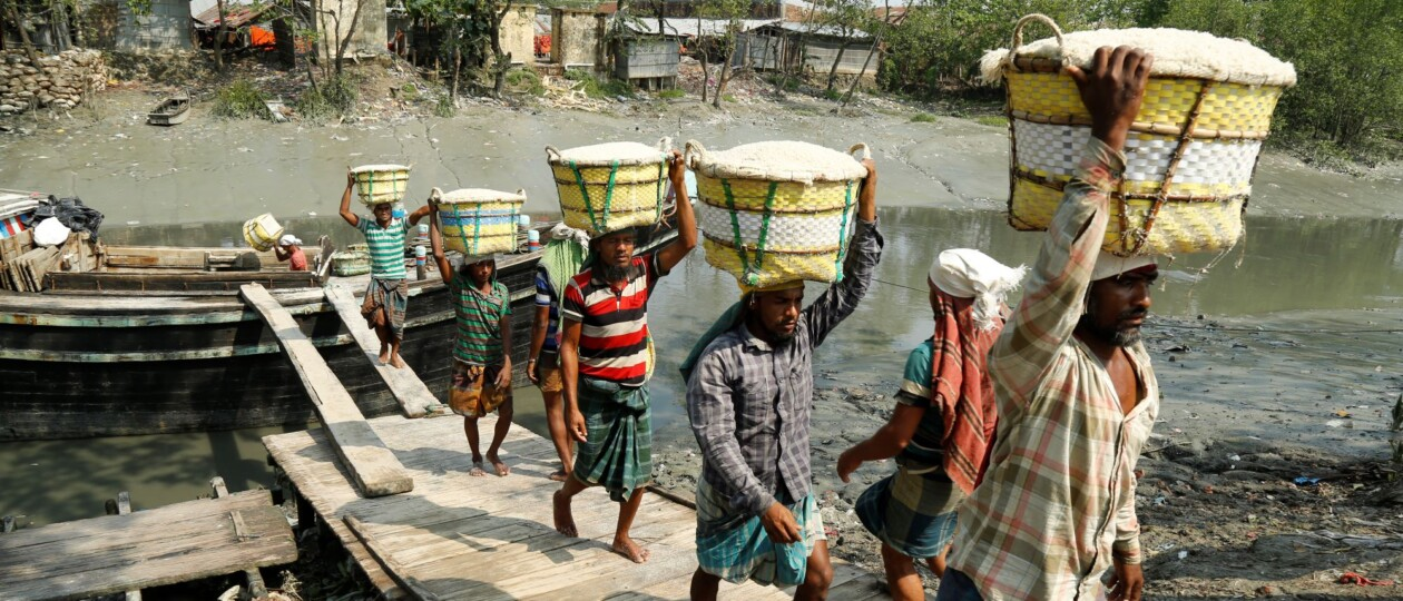 workers carry crude salt to factory Bangladesh