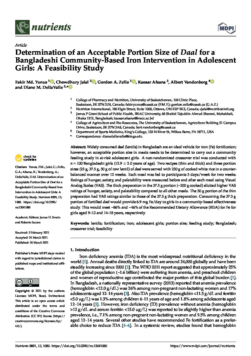 Determination of an Acceptable Portion Size of <em>Daal</em> for a Bangladeshi Community-Based Iron Intervention in Adolescent Girls: A Feasibility Study thumbnail