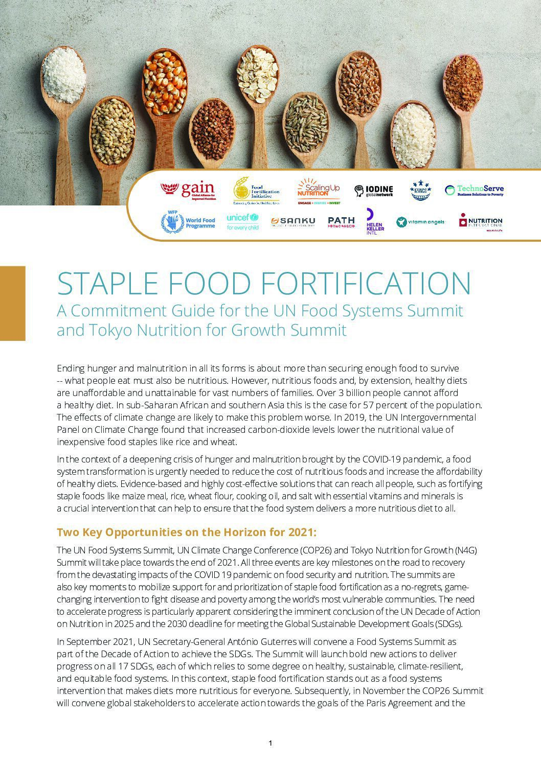 Staple Food Fortification: A Commitment Guide for the UN Food Systems Summit and Tokyo Nutrition for Growth Summit thumbnail