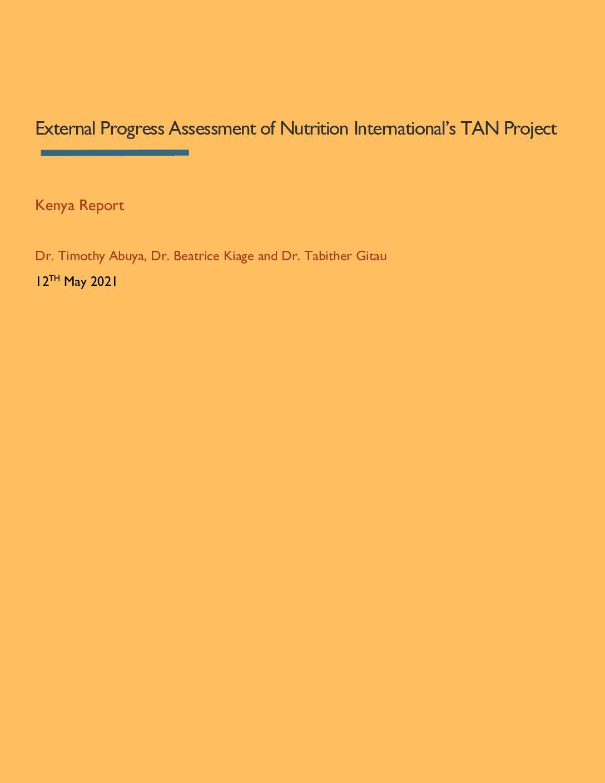 External Progress Assessment of Nutrition International's TAN Project – Kenya Report thumbnail