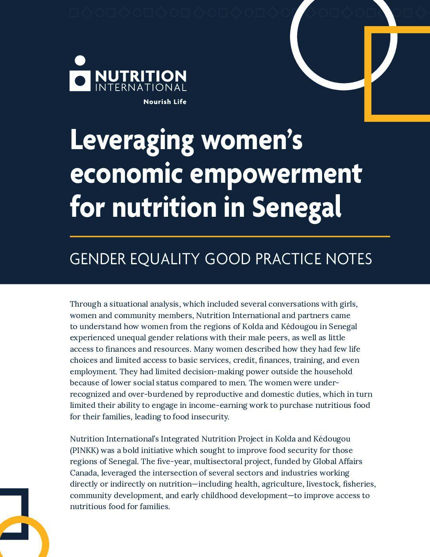 Leveraging women's economic empowerment for nutrition in Sénégal thumbnail