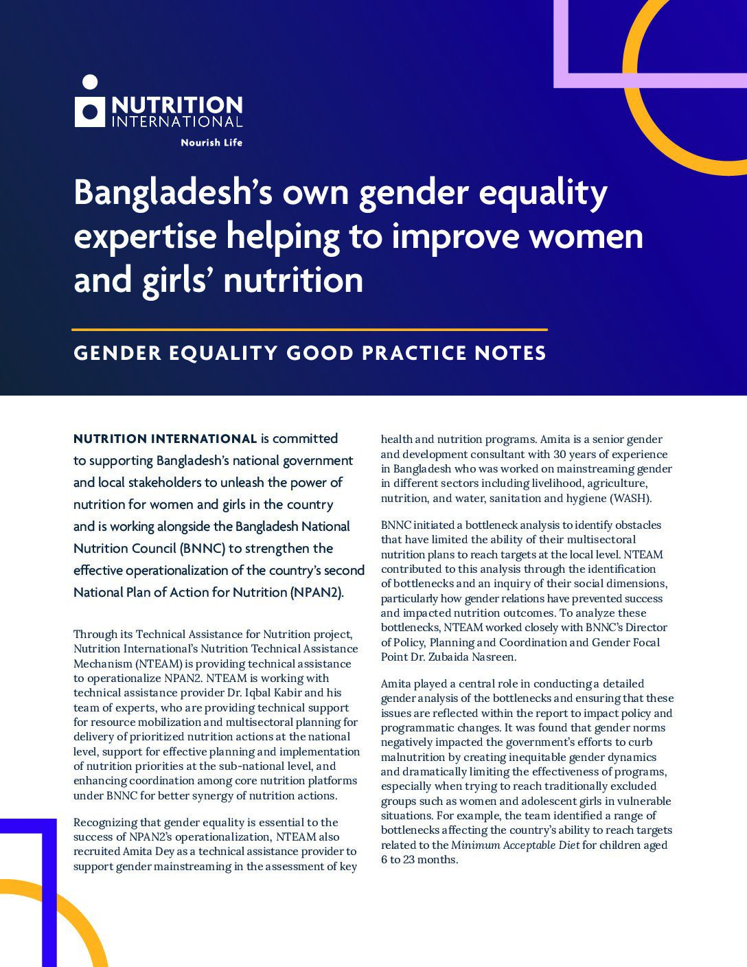 Bangladesh's own gender equality expertise helping to improve women and girls' nutrition thumbnail
