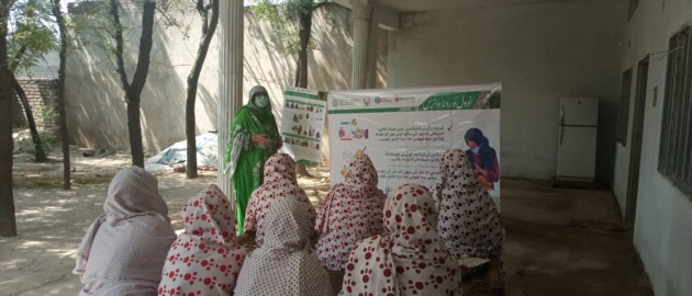 A group of women sitting outside and listening to a presentation by a lady health workers in Pakistan who is referencing a poster on best practices in breastfeeding