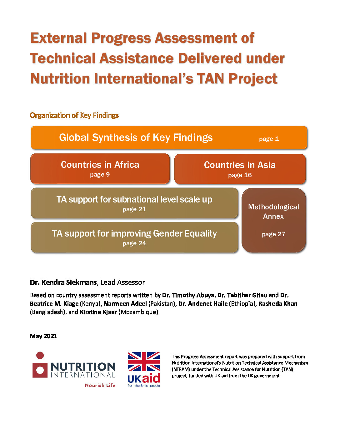External Progress Assessment of Technical Assistance Delivered under Nutrition International's TAN Project thumbnail